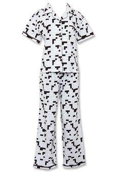 Sleepyheads Crossword Black & White Shortsleeve Lounger Pajama $19.98