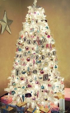 Image result for white christmas tree with pastel lights