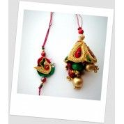 Buy Handmade Dabka Embroidary and beads rakhi and lumba. Buy online at irakhi.sellmojo.com