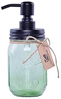 Liyoung Mason Jar Soap Dispenser,Glass Jar Lotion Dispenser,Made of Rust Proof 304 Stainless Steel (Green,
