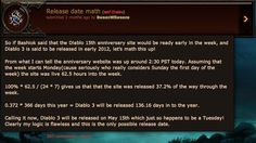 Math genius works out D3 release date, 2 months early and is correct.