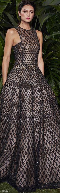 Naeem Khan ~ Resort Black Weave Sequin Maxi Dress 2016