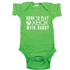 Green Baby Bodysuit Born to Play Xbox With by SingleAndTwinShirts