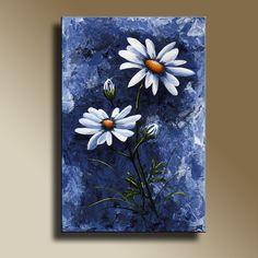 Lona impresión azul y margaritas blancas lona por EditVorosArt