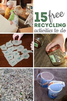 15 recycling activities to do with the kids! Educational and fun crafts and activities- perfect for Earth Day! art projects for kids earth day Encourage Kids to Be Green: 10 Recycled Art Projects for Kids art projects for kids earth day Earth Day Activities, Craft Activities For Kids, Preschool Activities, Kindergarten Classroom, Infant Activities, Recycled Art Projects, Recycled Crafts, Projects For Kids, Recycling Projects