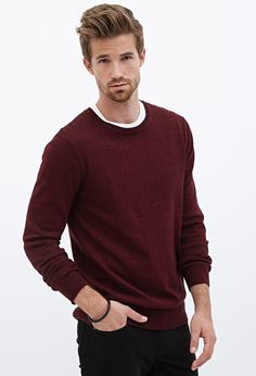 Heathered Ribbed Knit Sweater #21Men