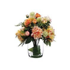 "19"" Rose and Peony Arrangement - Faux Arrangements ($179) ❤ liked on Polyvore featuring home, home decor, floral decor, flowers, decorative accessories, peony bouquet, orange rose bouquet, artificial bouquets and flower stem"