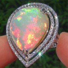 14.03 ct Welo Ethiopian Fire Opal & Diamond 14k White Gold Cocktail Ring!!!!!