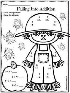 Have fun with this free fall math worksheet & coloring page Second Grade Math, First Grade Classroom, Math Classroom, Kindergarten Math, Teaching Math, Classroom Ideas, Preschool, Addition Worksheets, Math Worksheets