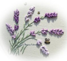 lavender in the breeze kit. The French needle. Using pearle #12 and stranded cotton on linen cotton blend. Drizzle stitch or alternately use bullion or multiple lazy daisy stitch