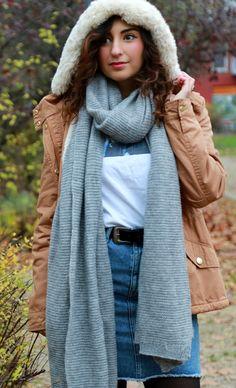 short parka + denim pencil skirt + pieces long scarf