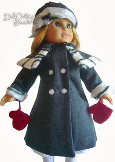 Victorian Era Winter Coat + Mittens + Hat + Cape for American Girl Nellie Dolls