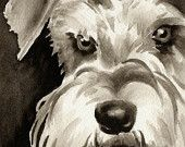 MINIATURE SCHNAUZER Sepia Art Print Signed by Watercolor Artist DJ Rogers