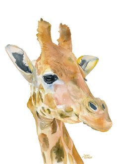 Giraffe watercolor painting giclee print! 5 x 7. Portrait (vertical) orientation. Printed on fine art paper using archival pigment inks. This