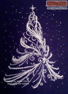 White Christmas tree cross stitch kit, pattern | Yiotas XStitch