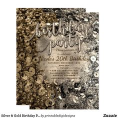 Silver & Gold Birthday Party Sequins Invitations