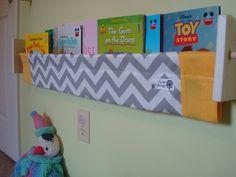 book sling - Expensive on Etsy, but probably easy to make! Nursery Themes, Nursery Decor, Nursery Ideas, Chevron Fabric, Grey Chevron, Book Sling, Kids Room Organization, Playroom Storage, Foster Baby