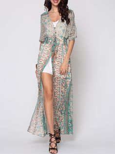 Fashion Ladies - Bohemian Split Chic V Neck Maxi-Dress Green [SKU Occasion: Vacation. Hippie Chic, Vacation Dresses, Vacation Wear, Dress Silhouette, Women's Fashion Dresses, Cute Dresses, Maxi Dresses, Beautiful Dresses, Ideias Fashion