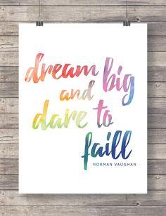 Dream Typography print Typography Art Motivational by TinyBirdsMM
