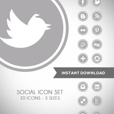 Download Round Grey Social Media Icons