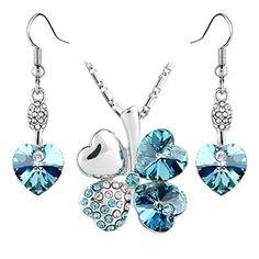 Le Premium® Schmuck-Set Vier Blättern Klee Halskette+ohrring baumeln Herz geformt Swarovski Aquamarine Blau Kristalle - http://schmuckhaus.online/le-premium/le-premium-schmuck-set-vier-blaettern-klee-herz-4