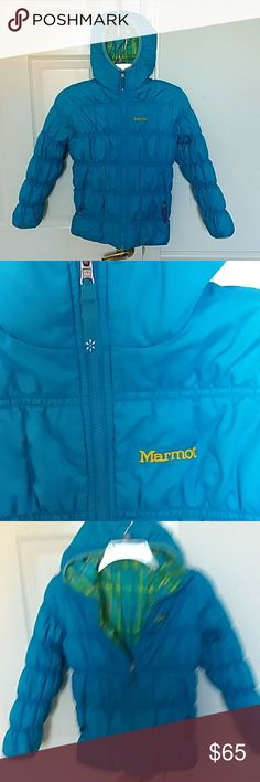 Reversible Marmot girl's coat Excellent condition. Worn a few times. Colors are blue, green, and yellow. Comes from smoke free and pet free home Marmot Jackets & Coats Puffers
