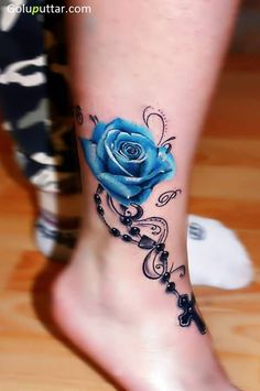 3D Blue Rose And Cross Chain Tattoo On Ankle - Copy