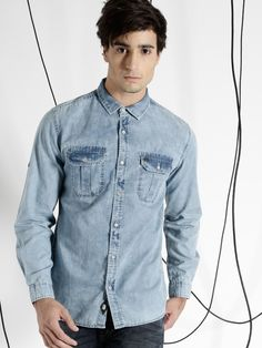 55c32106d6 Ice washed denim shirt - Ecko Unltd India