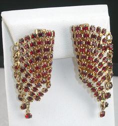 Vintage Red Rhinestone Earrings Clipbacks Circa 1950s Costume Jewelry Paved Prongset Stones