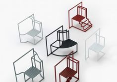 These eight chairs all reflect on the repetitive grids of windows that appear in city apartment blocks and high rises.
