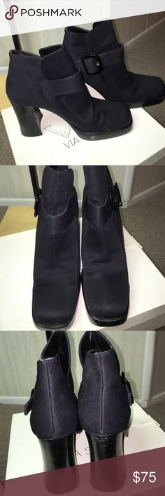 """Via Spiga ankle boots Fabulous VIA SPIGA ankle satin black booties with buckle. 3/4"""" platform and 4"""" heel. Size 9 1/2. Gently worn. Via Spiga Shoes Ankle Boots & Booties"""