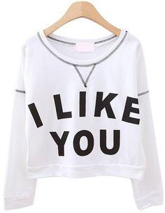 White Long Sleeve I LIKE YOU Print Crop Sweatshirt pictures