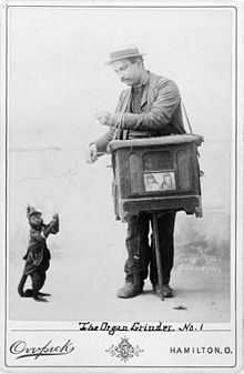 Vintage Picture of Organ Grinder w/ Monkey.