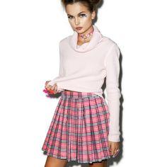 Reality Bites Baby Plaid Skirt (42 AUD) ❤ liked on Polyvore featuring skirts, mini skirts, high waisted skirts, mini skirt, tartan mini skirt, plaid skater skirt and high-waist skirt