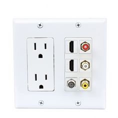 Decoration panel 2x 15 Amp Power Outlet 3x RCA 2x HDMI and 1x Coax Cable TV Port Wall Plate White