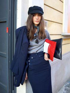 Navy style skirt, cap, clutches...| #streetstyle #mfw MILAN I Facehunter