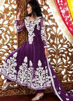 Purple Fancy Designer Net Anarkali Salwar Suit