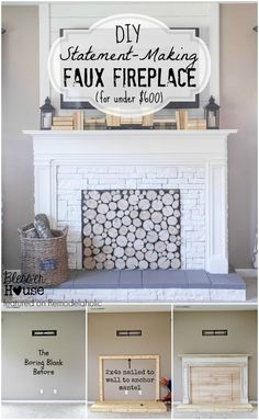 DIY Faux Fireplace - Blesser House featured on Remodelaholic .com - DIY Faux Fireplace – Blesser House featured on Remodelaholic . Faux Mantle, Faux Fireplace Mantels, Mantles, Shiplap Fireplace, Fireplace Hearth, Fireplace Cover, Fireplace Outdoor, Fireplace Ideas, Wedding Fireplace