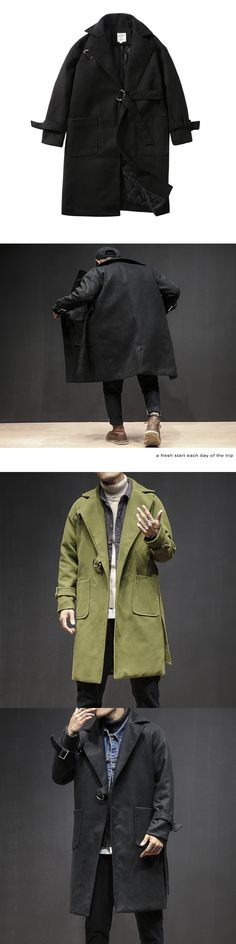 Men's Wool Coats & Jackets Winter Cashmere Jacket Man Long Section Single Breasted Overcoat Turn-down Collar Casual Woolen Coat