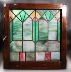 This is a fantastic antique Arts and Crafts American stained glass window, dating from the Antique Stained Glass Windows, Antique Windows, Art Deco Design, Antique Art, American Art, Arts And Crafts, Mirror, Frame, Painting