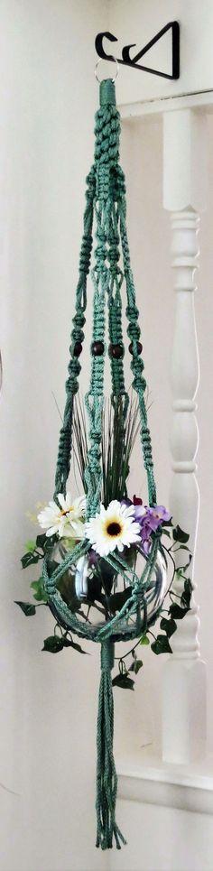 """Macrame plant hanger, 52"""", SAGE green, hanging planter basket, pot holder…"""