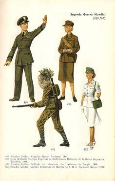 In senso orario: U.S.Army Tenente di Aviazione Navale, 1944 - UK Army Tenente del Corpo Imperiale di Infermiere militari della regina Alessandra, 1945 - U.S.Army Soldato con uniforme da Jungla, 1945 - U.S.M.C. Sergente Maggiore del corpo femminile di Marina, 1945