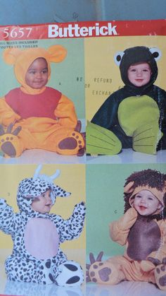 Bear Frog Cow Lion Infant's Costume Halloween Butterick 5657 Sewing Pattern by SeesallysewPatterns on Etsy Halloween Costume Patterns, Costume Halloween, Animal Costumes, Baby Costumes, Stage Play, Baby Outfits, Christening, Cow, Sewing Patterns
