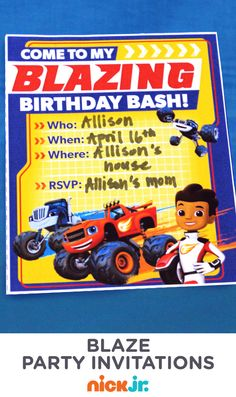 Let everyone know about your child's special Blaze and the Monster Machines birthday party with these FREE printable invitations!