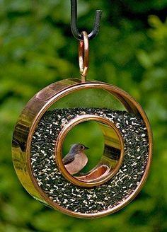 Circle Fly-Thru Bird Feeder-Solid Copper