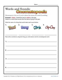 Word Sounds: Onomatopoeia | Worksheets, Figurative language and ...