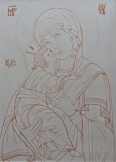 Byzantine Icons, Byzantine Art, Religious Icons, Religious Art, Writing Icon, Orthodox Icons, Blessed Mother, Christian Art, Beach Art