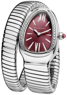 Bvlgari Serpenti Tubogas Stainless Steel and Diamond Watch Bvlgari Diagono, Bvlgari Serpenti, Bvlgari Watches, Rolex Watches, Stylish Watches, Luxury Watches For Men, Bvlgari Gold, Expensive Watches, Beautiful Watches