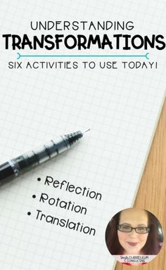 Transformations prove to be a tricky concept for students but they don\'t have to be. Each of these six activities will help you teach and practice transformations (reflection, rotation and translation) with your students to help them to excel! Teaching Geometry, Geometry Activities, Teaching Math, Math Activities, Teaching Ideas, Geometry Lessons, Maths Resources, Math Strategies, Teaching Methods