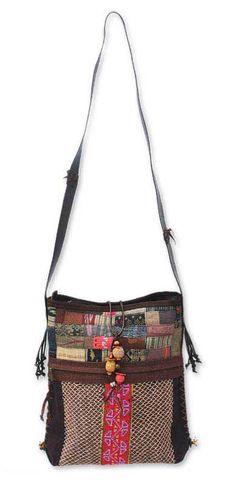 Hemp and cotton shoulder bag, 'Lanna Patchwork' by NOVICA